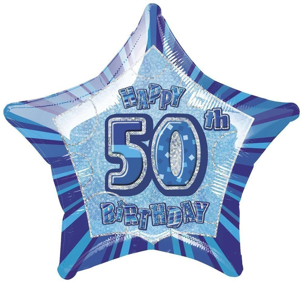 50th Birthday Blue Star Glitz Foil Helium Balloon